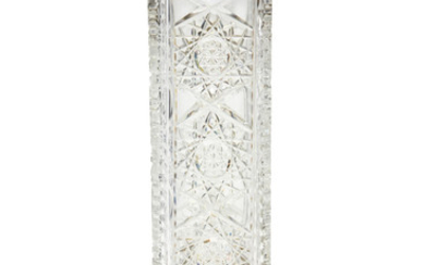 A silver-mounted cut-glass vase
