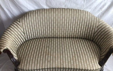 """A two seater and two lounge chairs with dark wood cabriole legs with """"claw and ball"""" Upholstered with silk brocade. L. 150 cm. (3)"""