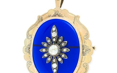 AN ANTIQUE DIAMOND AND BLUE GLASS PENDANT / BROOCH