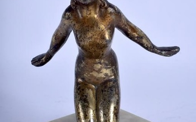 AN ART DECO BRONZE FIGURE OF A KNEELING FEMALE modelled