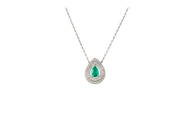 AN EMERALD AND DIAMOND CLUSTER PENDANT, the pear shaped emer...