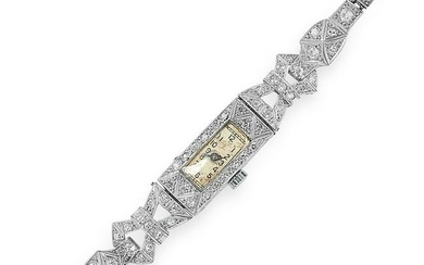 ART DECO DIAMOND COCKTAIL WATCH set with round and