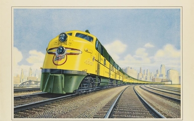 A.W. JOHNSON (DATES UNKNOWN). THE FAMOUS STREAMLINER 400 / CHICAGO AND NORTH WESTERN LINE. Circa 1939. 21x27 inches, 53x70 cm.