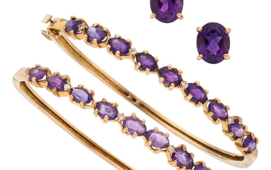 Amethyst, Diamond, Gold Jewelry The lot includes two hinged...