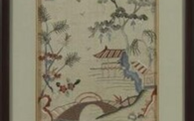 An Asian silk embroidery panel