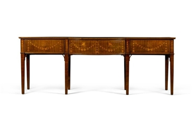 An Irish George III chequerbanded mahogany and marquetry bow-front sideboard, circa 1800