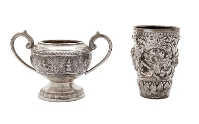 An early 20th century Burmese unmarked silver beaker, Mandalay circa 1900