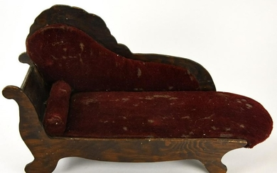 Antique 19th C Doll Size Handmade Chaise Lounge