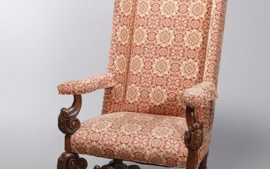 Antique Carved Walnut Continental Baroque Tall Armchair