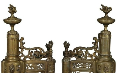 Antique French Louis XIV Brass Fireplace Chenets