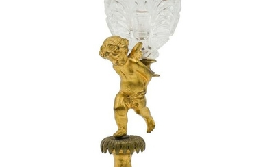 Antique Gilded Bronze Cherub Boboniere