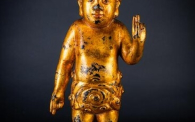 Arte Cinese An iron gilt lacquered standing figure of
