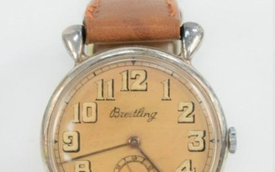 Breitling Mens Vintage Wristwatch, having tan dial and