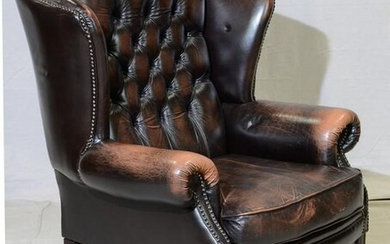 Brown Leather Chesterfield Wing Chair - Straight Legs