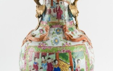 CHINESE ROSE MEDALLION PORCELAIN VASE In baluster form, with a floriform mouth, phoenix handles at neck and figural cartouches on bo...