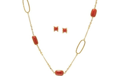 COLLECTION OF CORAL AND DIAMOND JEWELRY