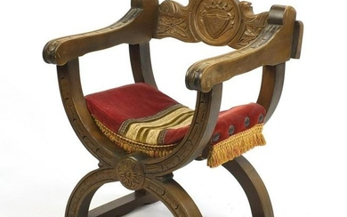 Carved fruitwood X framed chair, 75cm high