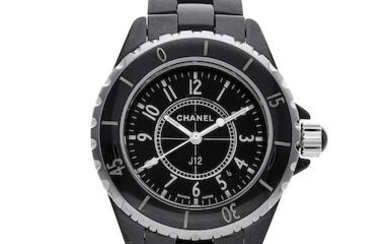 Chanel| J12, A Lady's Black Ceramic and Stainless Steel Bracelet Watch with Date, Circa 2009