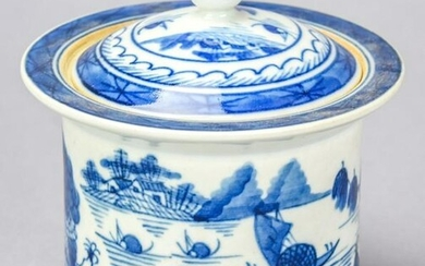 Chinese Canton Blue & White Porcelain Sugar Bowl