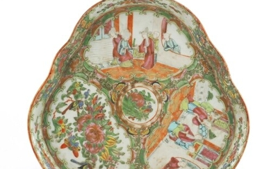 Chinese Canton porcelain triangular tray, hand painted in th...