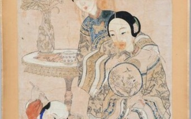 Chinese Scroll Painting, 2 women & a Child.