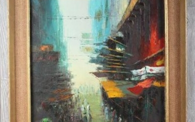 Chinese Street Scene Painting Signed F Feng