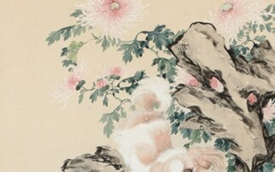 NOT SOLD. Chinese painter, 20th century: Two Pekingese playing. Unsigned. Watercolour on paper. Sheet size...