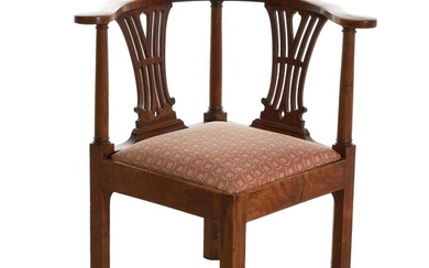 Chippendale style carved mahogany corner chair