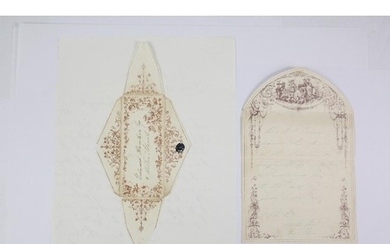 Circa 1840 Decorative Envelope and Decorative Letter, this l...