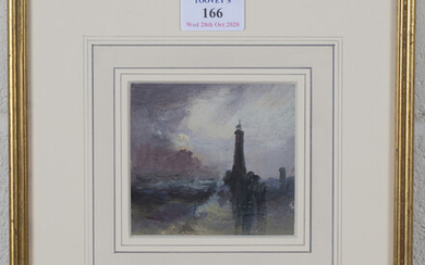 Circle of Sarah Louise Kilpack - View of a Lighthouse, oil on board, inscribed in pencil verso, 9cm