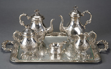 Coffee and tea set in punched Spanish silver...