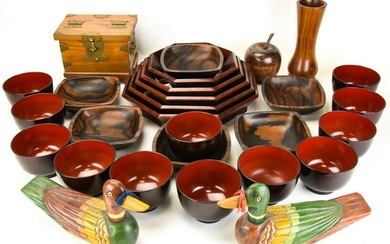 Collection of Japanese Carved & Lacquer Ware Items