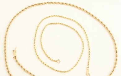Collection of Two 14k Yellow Gold Neck Chains.