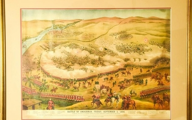 Color Lithograph Depicting The Battle of Omdurman