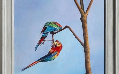 Cualchi, Lovely Birds (Two Scarlet Macaw Parrots), Oil