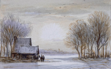 [DRAWING] – [DUTCH SCHOOL]. (VIEW of a snowy landscape with two figures & a horse near a house).
