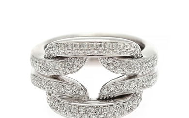 Damiani: A diamond ring set with numerous brilliant-cut diamonds, mounted in 18k white gold. Size 52.