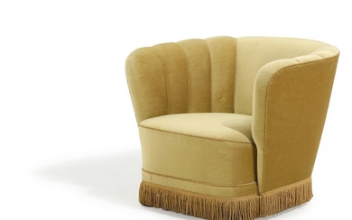 Danish furniture design: Easy chair upholstered with yellow velour, stained beech legs. 1930–40s.