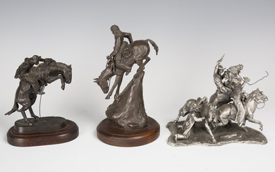 Dell Weston after Remington - two late 20th century brown patinated cast bronze figures of The Mount