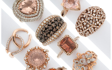 Diamond, Colored-Diamond, Multi-Stone, Rose Gold Rings The lot includes...