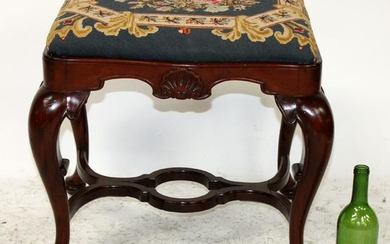 English mahogany needlepoint stool