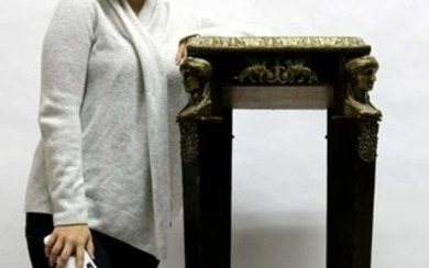FRENCH BRONZE INSET MARBLE EBONIZED 56' PEDESTAL