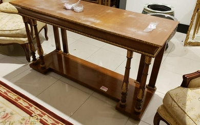 French burl wood carved mahogany Console table