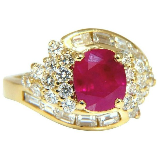 GIA Certified 4.08 Carat Burma Red Ruby Diamonds Ring