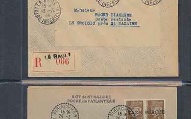 """German Occ. WW2. Lot covers from french """"ST. NAZAIRE"""". Binder with 10 rare covers incl. 2 certs and several sign."""