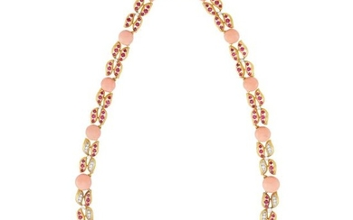 Gold, Platinum, Angel Skin Coral, Ruby and Diamond Necklace, France, Possibly by Cartier