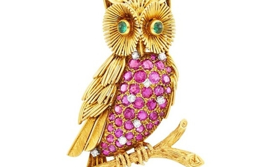 Gold, Ruby and Diamond Owl Clip-Brooch, France