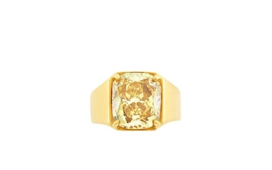 Gold and Fancy Deep Brownish Yellow Diamond Ring