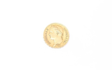 Gold coin of 40 francs Napoleon head laureate, French Empire (1811 A).