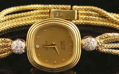 Golden watches (working not guaranteed) - 18k yellow gold cocktail watch, Omega De Ville, the lugs decorated with two white-gold spheres set with single-cut diamonds - 22 mm, 17 cm